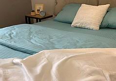 Постельное белье страйп сатин Голубой, евро комплект