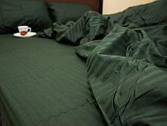 Постельное белье страйп сатин Темно зеленый, евро комплект
