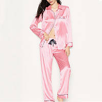 Пижама женская шелковая в полоску Victoria's Secret. Пижама женская полосатая VS, р. S (розовая)