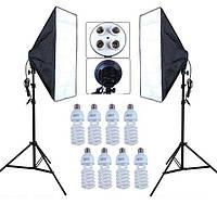 Набор постоянного студийного света софтбоксы 50x70 на 4 патрона + Лампы 45W