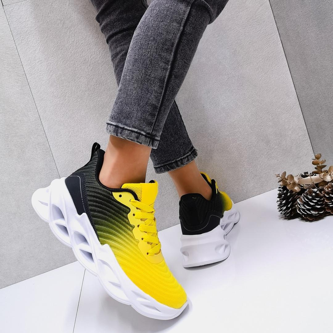 Женские кроссовки Цвет - Омбре (желтый+черный)