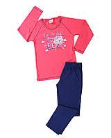 Трикотажная пижама с принтом мишки для девочек 9-14 лет