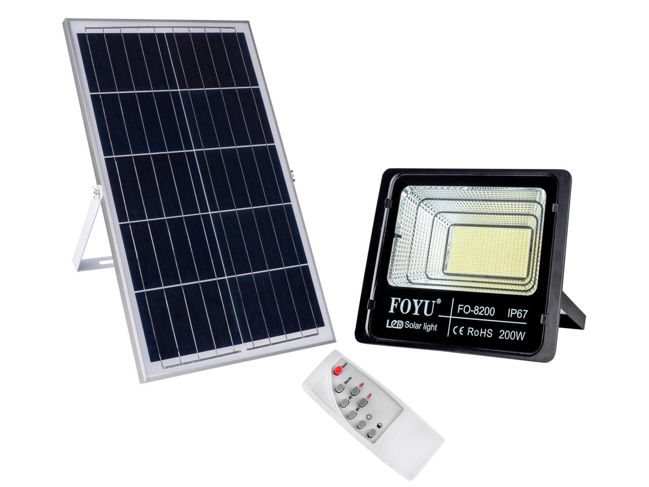 Прожектор на солнечной батарее FOYU 200W Черный (FO-88200)