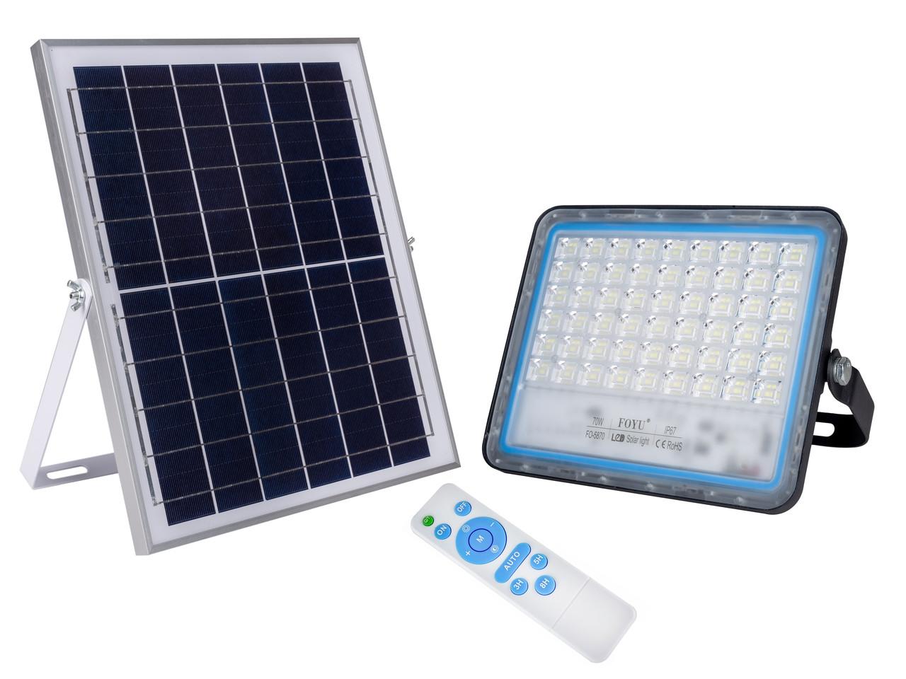 Уличный прожектор на солнечной батарее FOYU 70W Черный (FO-5870)