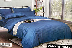 Постельное белье страйп сатин Синий, двуспальный комплект