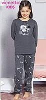 Байковая темно-серая пижама с принтом кошечки для девочек 7-14 лет