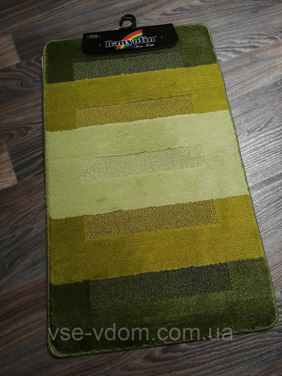 Набор ковриков в ванную и туалет 100*60 см Banyolin зелёный