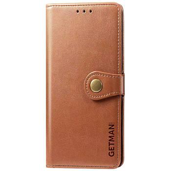 Кожаный чехол книжка GETMAN Gallant (PU) для Huawei P Smart (2021) / Y7a Коричневый