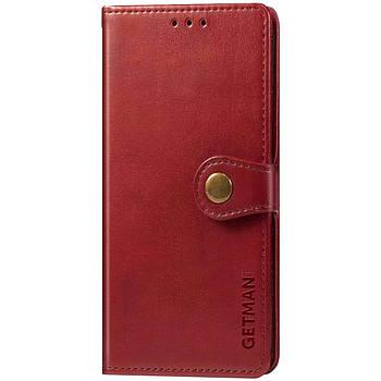 Кожаный чехол книжка GETMAN Gallant (PU) для Huawei P Smart (2021) / Y7a Красный