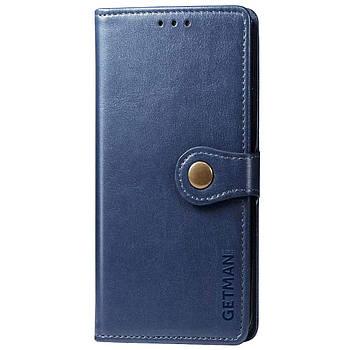 Кожаный чехол книжка GETMAN Gallant (PU) для Huawei P Smart (2021) / Y7a Синий