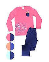 Трикотажная пижама с принтом зайчика морковкой для девочек 9-14 лет