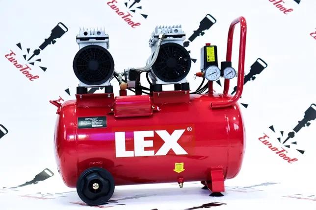 Компрессор Lex 60 л, 2.25 кВт, 220 В, 7 атм, 360 л/мин, малошумный, безмасляный, 4 цилиндра