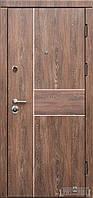 """Метелическая входная дверь """"Троя - Дуб шале корица+молдинг аллюминий """""""