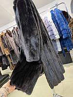 Женская норковая шуба размер XL черного цвета из натуральной норки