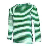 Тельняшка летняя с длинным рукавом 100% хлопок вязаная (зеленая) 62