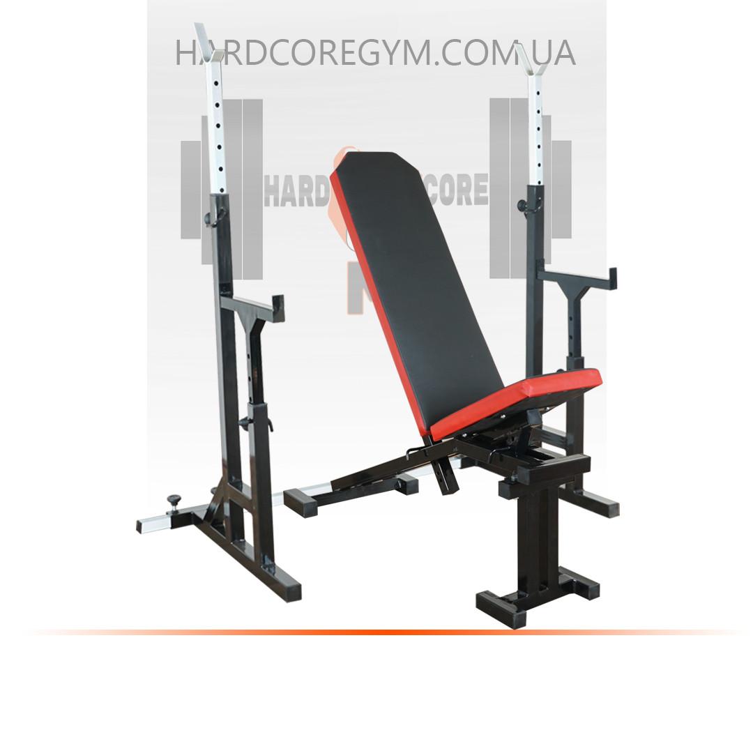 Скамья с отрицательным углом (до 300 кг) + Стойки с страховкой (до 200 кг)