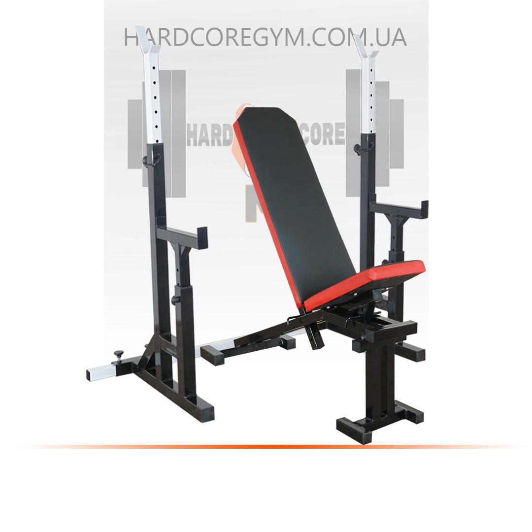 Скамья с отрицательным углом (до 300 кг) + Стойки с страховкой (до 250 кг)
