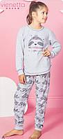 Трикотажна піжама з принтом лінивця для дівчаток 5-14 років