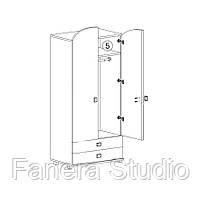 Шафа з двома дверима і двома ящиками для одягу, меблі з вологостійкого МДФ, фото 2