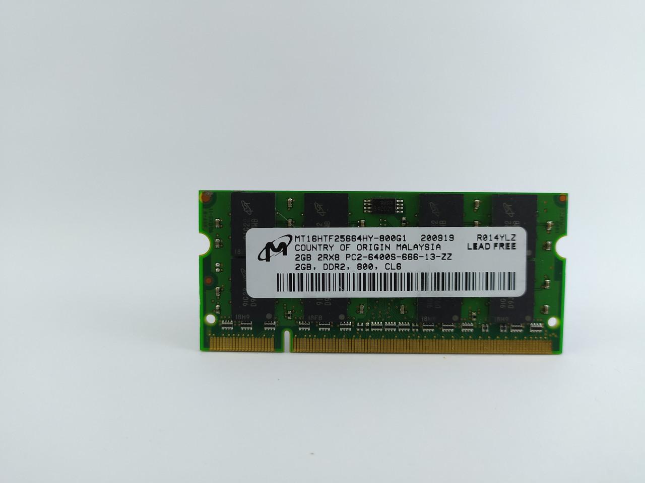 Оперативная память для ноутбука SODIMM Micron DDR2 2Gb 800MHz PC2-6400S (MT16HTF25664HY-800G1) Б/У