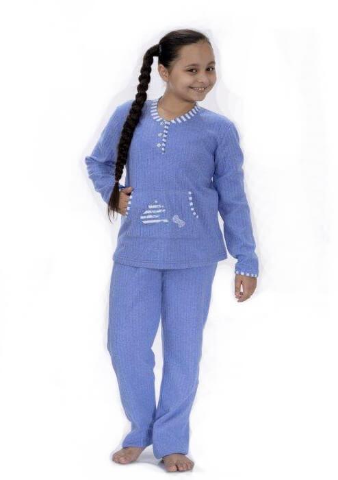 Голубая трикотажная пижама для девочек 8-16 лет