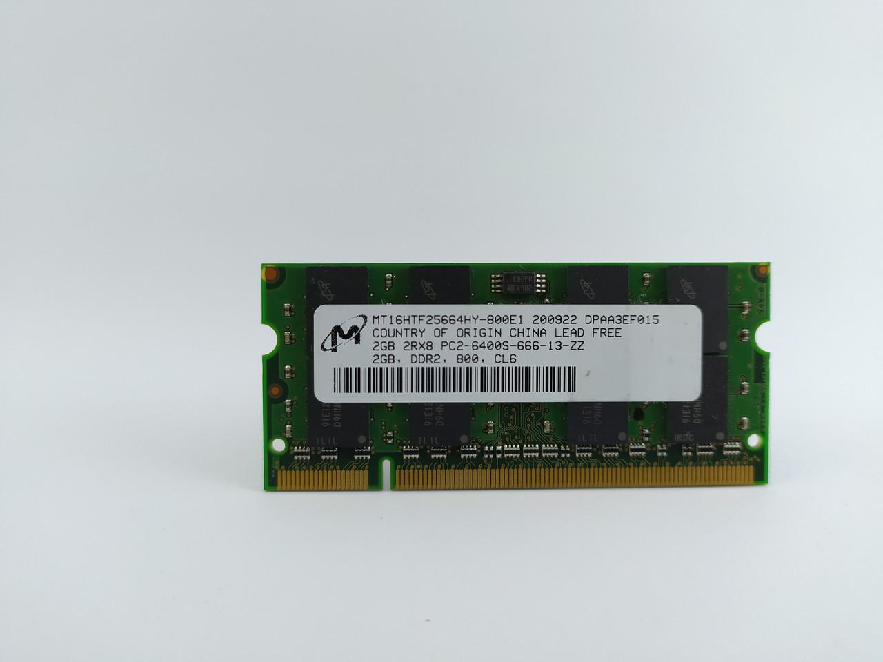 Оперативная память для ноутбука SODIMM Micron DDR2 2Gb 800MHz PC2-6400S (MT16HTF25664HY-800E1) Б/У