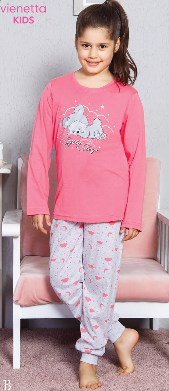 Трикотажная пижама с принтом спящего мишки для девочек 9-16 лет