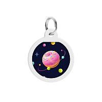 Адресник WAUDOG Smart ID Всесвіт пончиків з QR паспортом преміум різнобарвний сталь 0625-0218