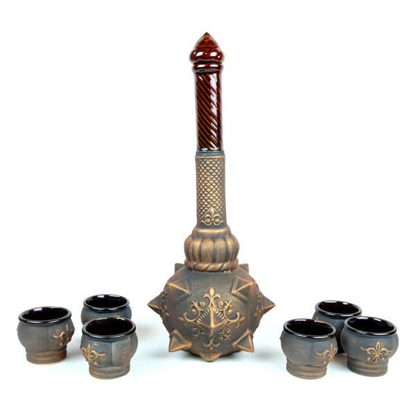 Булава с рюмками - набор для коньяка, декор «бронза», булава на свадьбу