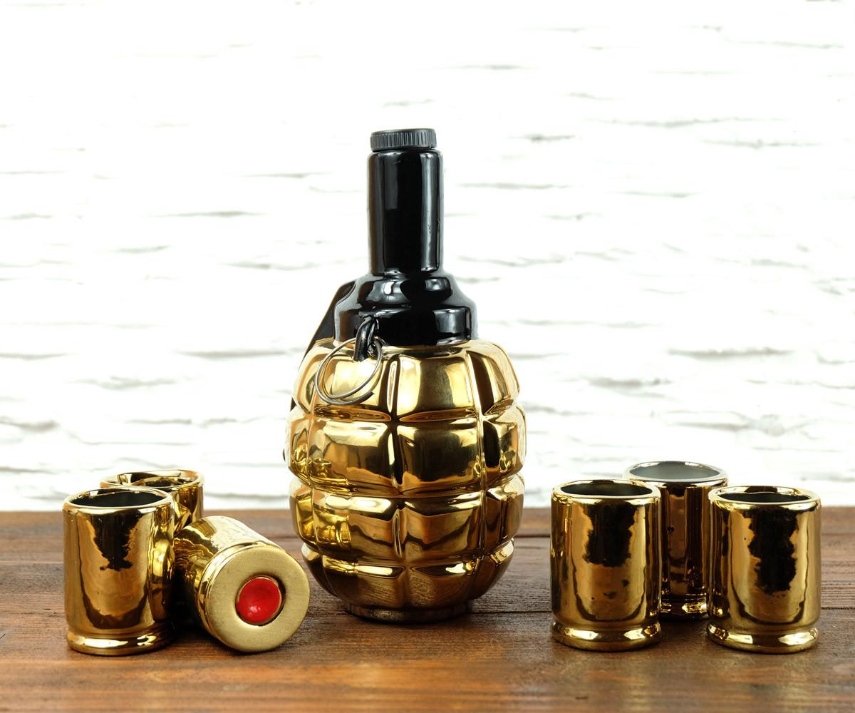 Граната Ф1 золотая - подарочный набор для спиртного