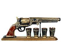 Пистолет «Кольт» на деревянной подставке (подарочный набор для спиртного)