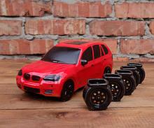 БМВ красный - подарочная бутылка с рюмками BMW