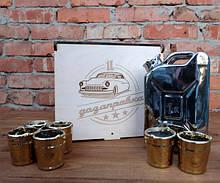 Подарочный набор Дозаправка в ящике - серебряная канистра и 6 рюмок