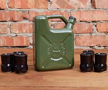 """Канистра """"Топливо внутреннего сгорания"""" зеленая - набор для спиртного с рюмками"""