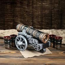 Царь-пушка бронзовая - подарочный набор для спиртного, бутылка-пушка с рюмками