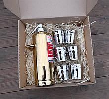 Бутылка-огнетушитель «золотой» с рюмками - подарочный набор для спиртного