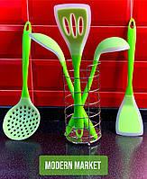 Набор силиконовых кухонных лопаток (салатовые) + подарок !!!
