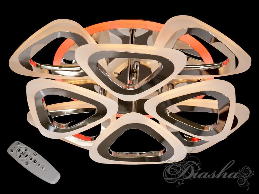 Потолочная люстра с диммером и LED подсветкой, цвет хром AS8118/4+4HR LED 3color dimmer