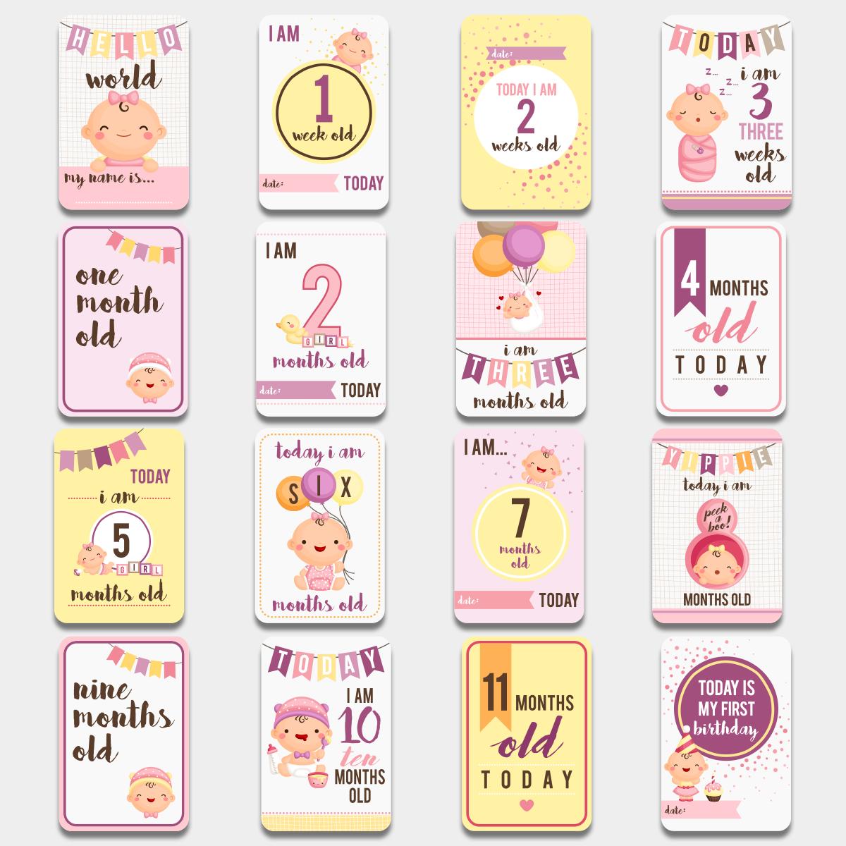 Карточки для фото Первый годик Розовые