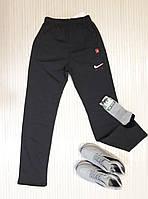 Спортивные штаны мужские прямые, трикотаж, темно-серый