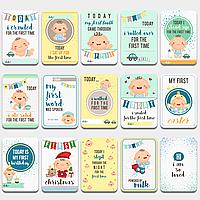 Карточки для фото Первый годик Голубые