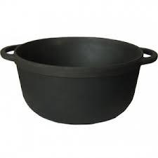 Кастрюля  чугунная  без крышки. Объем 10,0 литров, 340х150 мм