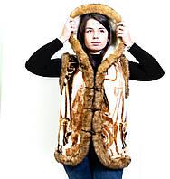 Безрукавка женская из овечьей шерсти с капюшоном, шерстяной жилет, жилетка из овчины, безрукавка 44-58р