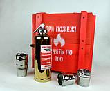 При пожежі налити по 100 - золотой огнетушитель-бутылка в деревянном ящике, фото 4