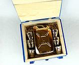 Не жени 100 а налий 100 - золотая бутылка-канистра в деревянном ящике, набор Дозаправка, фото 4