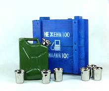 Не жени 100 а налий 100 - зеленая бутылка-канистра в деревянном ящике, набор Дозаправка