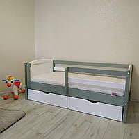"""Односпальная кровать """"Тахта"""" - Анимона серо-белая, массив ольхи"""