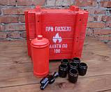 При пожежі налити по 100 - красный огнетушитель-бутылка в деревянном ящике, фото 5