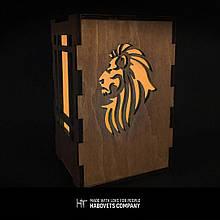 Дерев'яний світильник нічник «Lion», деревянный светильник ночник «Lion»
