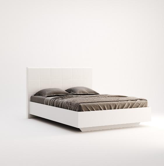 Кровать двуспальная с мягким изголовьем из ДСП Фемели (без каркаса и матраса) MiroMark